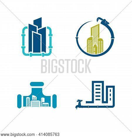 Set Of Building Plumbing Logo Design Vector Illustration, Creative Plumbing Logo Design Concept Temp
