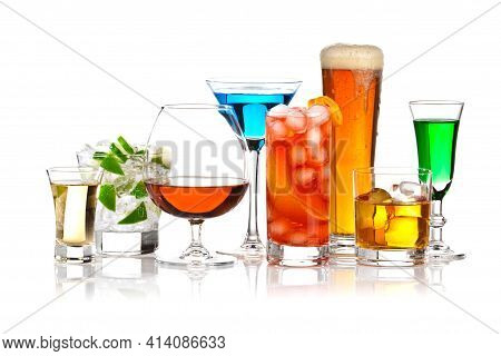 Alcoholic Drinks In Glasses In Assortment: Vodka, Cognac, Tequila, Brandy And Whiskey, Grappa, Lique