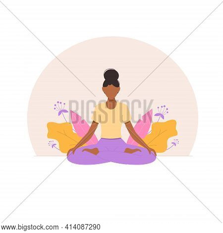 Black Woman Meditating In Nature And Leaves. Diversity Yoga Class. Concept Illustration For Yoga, Me