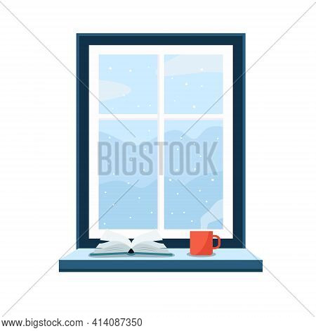 Window With Winter Landscape Outside With Mountains And Snow Concept. Inside The Warm House With The