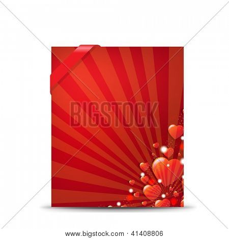 Red Valentines Day Banner With Gradient Mesh,   Isolated On White Background, Vector Illustration