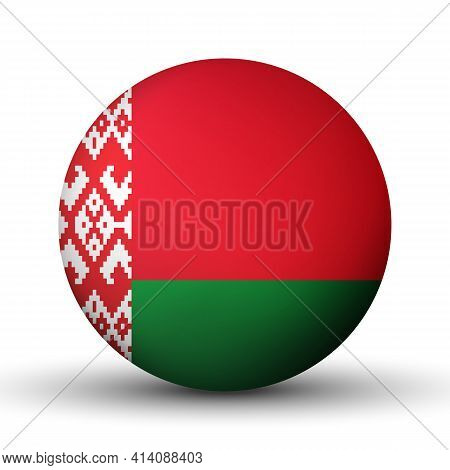 Glass Light Ball With Flag Of Belarus. Round Sphere, Template Icon. Belarusian National Symbol. Glos