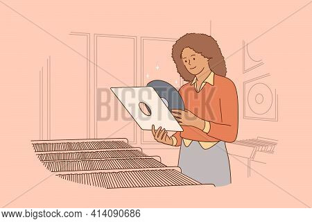 Vintage Vinyl Records Music Concept. Young Smiling Black Woman Cartoon Character Standing And Holdin