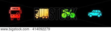 Set Bus, Delivery Cargo Truck, Bicycle And Hatchback Icon. Vector
