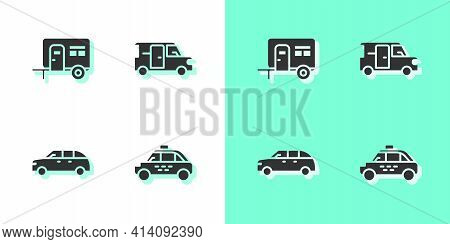 Set Taxi Car, Rv Camping Trailer, Hatchback And Minibus Icon. Vector