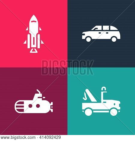 Set Pop Art Tow Truck, Submarine, Hatchback Car And Rocket Ship With Fire Icon. Vector