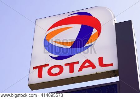 Bordeaux , Aquitaine France - 03 22 2021 : Total Brand Petrol Fuel Company Text And Logo Sign On Gas