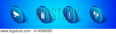 Set Isometric Security Camera, Police Rubber Baton, Protest And Hand Grenade Icon. Vector