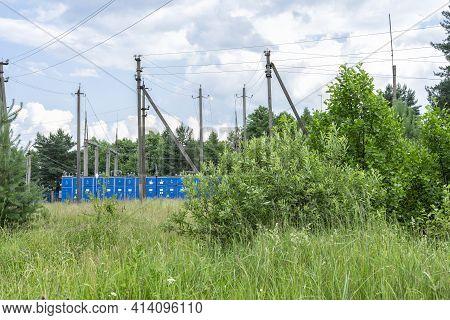 Rural Landscape Of Substation Equipment In Summer