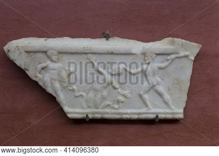 Merida, Spain - December 20th, 2017: Decorative Plaque With Scene Of The Labours Of Hercules. Heracl