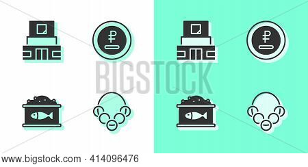 Set Russian Bagels, Mausoleum Of Lenin, Tin Can With Caviar And Rouble, Ruble Currency Icon. Vector