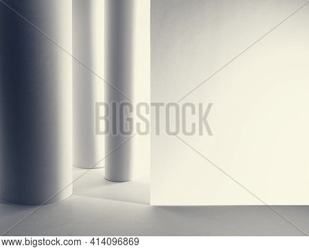 Abstract Interior Or Indoor Hall Background Of Columns And Wall Made From Paper With Copy Space. Col
