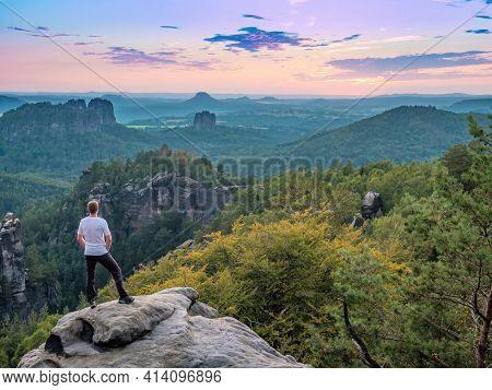View From Carolafelsen To Grossen Dom And Jagged Mountains Schrammsteine And Falkenstein In Saxon Sw