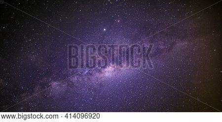 Night View With A Bright Starry Sky And The Milky Way. Dream Nature Scene, Long Exposure. Night Sky,