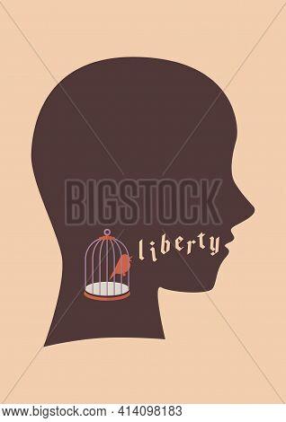 Bird In Bird Cage Try To Speak Liberty Word. Freedom Concept Metaphor Vector Illustration