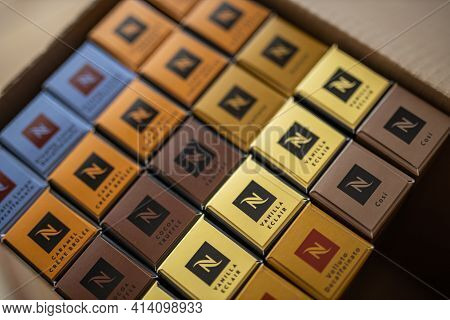 Budapest, Hungary - May.15.2020. A Set Of Different Nespresso Flavors. Close-up Coffee Boxes. Collec