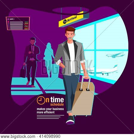 Arrival At The Airport Terminal  Vector Flat Illustration For Advertisement  Web Banner Or Any Other