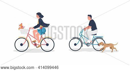 Caucasian Man And Woman On Bicycle With Dogs Flat Color Vector Detailed Character Set