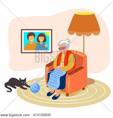 Knitting Old Woman Knits Granny Knitting In Her Armchair Next To A Cat Playing With A Ball Of Yarn V
