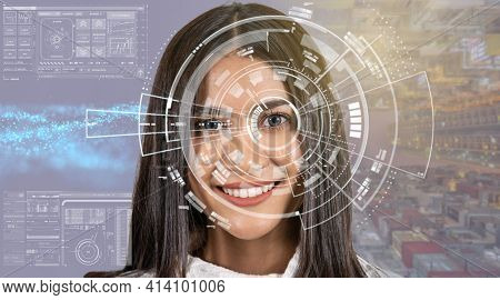 Asian Women Being Futuristic Vision Over The Part Of Graphic Particle, Digital Technology Screen Ove