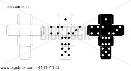Cubes For Gambling Paper Template Set. Casino Craps And Playing Games Vector Illustration. Poker Cub