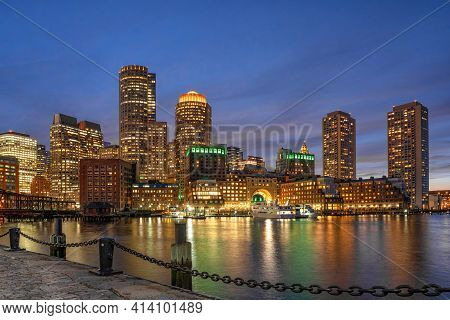 Boston Skyline From Fan Pier At The Fantastic Twilight Time With Smooth Water River In Boston, Massa