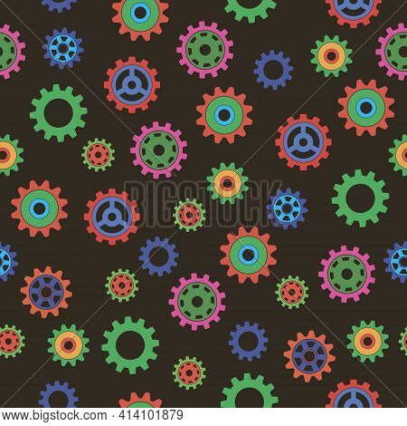 Colored Gears Seamless Pattern. Vector Drawing Of Factory Gear Wheels. Mechanical Gear. The Image Of