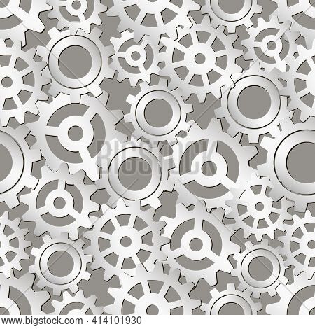 Gears Seamless Pattern. Vector Drawing Of Factory Gear Wheels. Mechanical Gear. The Image Of The Gea