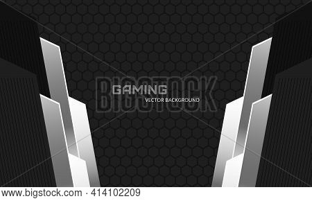 Dark Abstract Background With Hexagon Carbon Fiber Grid And Silver Metallic Shapes. Futuristic Luxur