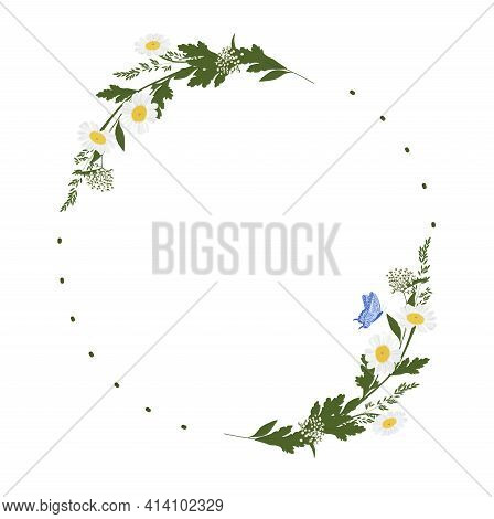 Daisy Wreath Vector Stock Illustration. A Vignette Of Meadow Flowers. Design For Invitation, Wedding
