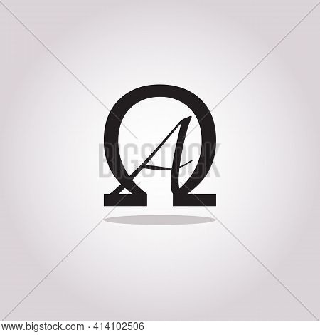 Conceptual Symbolic Alpha And Omega Icon Brand Logo Design - From Beginning To End Or First And Last