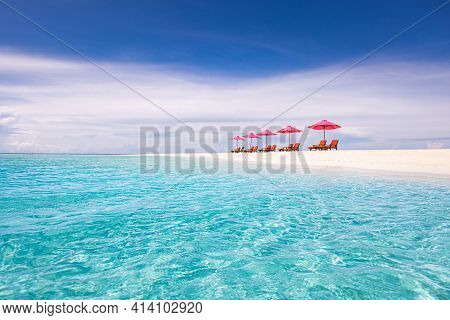 Luxury Beach Resort, Beach Loungers Near The Sea With White Sand Over Sea Topical Island Background,
