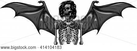 Design Of Human Skeleton With Bat Wings Vector Illustration
