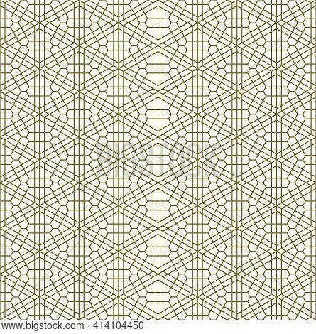 A Seamless Pattern Based On Elements Of The Traditional Japanese Craft Kumiko Zaiku. Fine Lines Of B