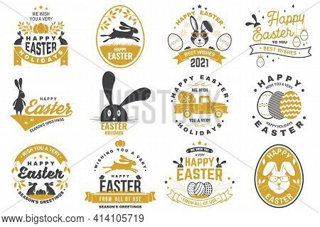 Happy Easter Card, Badge, Logo, Sign. Vector. Typography Design With Easter Rabbit And Hand Eggs. Mo