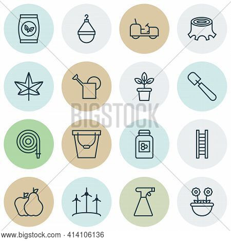 Farm Icons Set With Bailer, Leaf, Scale And Other Pail Elements. Isolated Vector Illustration Farm I