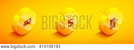 Set Isometric Armored Truck, Dollar Symbol And Inserting Coin Icon. Vector