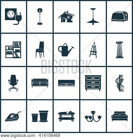 Housing Icons Set With Double Bed, Ceiling Lamp, Dresser And Other Appliance Elements. Isolated Vect