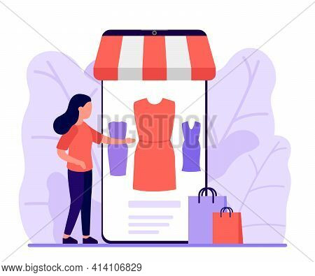 Mobile Shopping, Shop To Online. Woman Buy Things In The Online Store Through Phone App. Choose Dres
