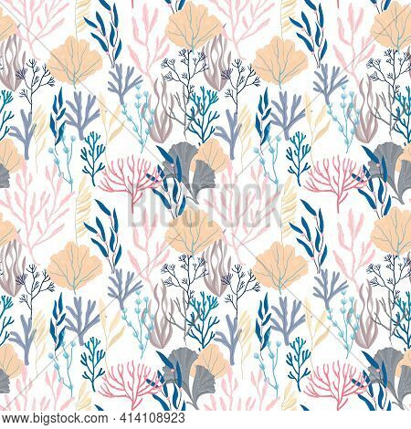 Seamless Sea Pattern With Ocean Plants And Corals.