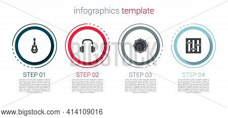 Set Guitar, Headphones, Dial Knob Level And Sound Mixer Controller. Business Infographic Template. V