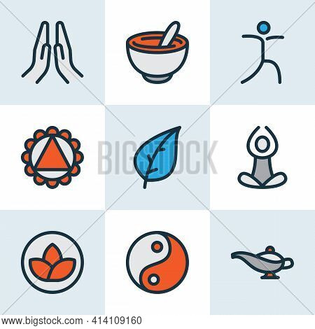 Meditation Icons Colored Line Set With Relaxation, Yin Yang, Leaf And Other Meditation Elements. Iso