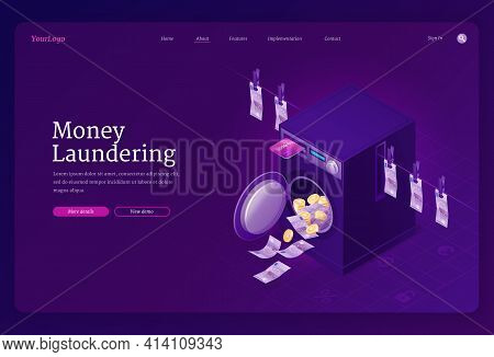 Money Laundering Isometric Landing Page, A Banner