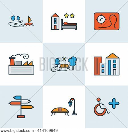 Public. Skyline Icons Colored Line Set With Fabric, Disabled Sign, Building And Other Outdoor Elemen