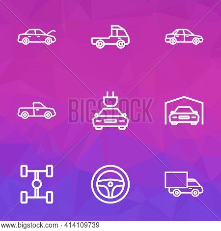 Automobile Icons Line Style Set With Steering Wheel, Truck, Garage And Other Electric Car Elements.