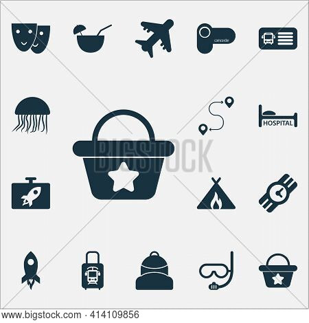 Trip Icons Set With Wristwatch, Camcorder, Beach Bag And Other Destination Elements. Isolated Illust