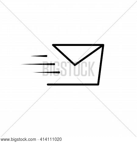 Sending A Message Thin Line Icon In Black. Fast Send Mail Concept. Trendy Flat Style Isolated Symbol