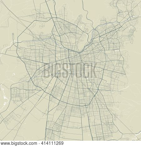 Detailed Map Of Santiago City Administrative Area. Royalty Free Vector Illustration. Cityscape Panor