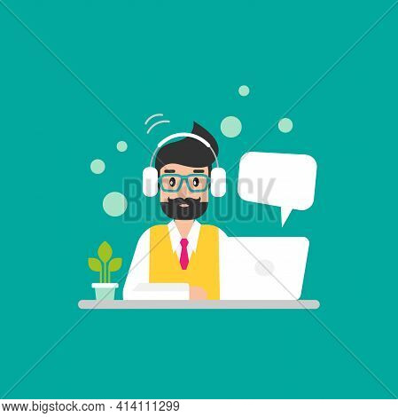 Man Teacher Or Tutor With Laptop And Headset Or Earphone. Internet Learning. On-line Distant Educati