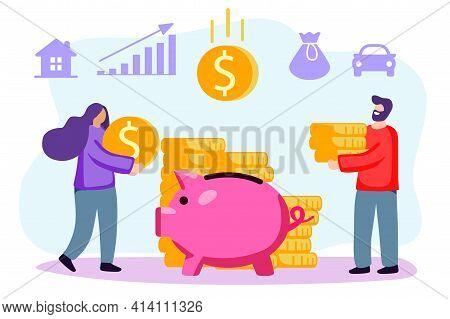Putting Money Piggy Bank Vectors Happy Married Couple Putting Coin Into Piggy Bank Vector Design Ill